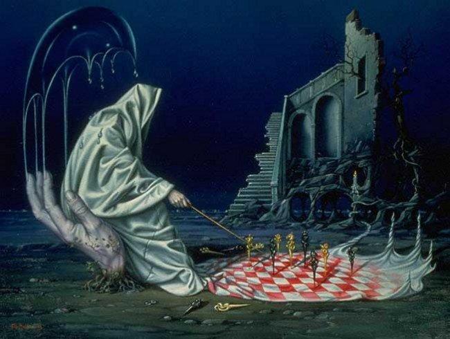 Ночная съемка игры в шахматы или шашки